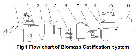 Flow chart of biomass gasification system